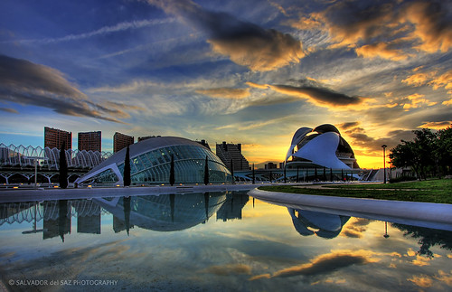 Another sunset view of the City of Arts and Sciences