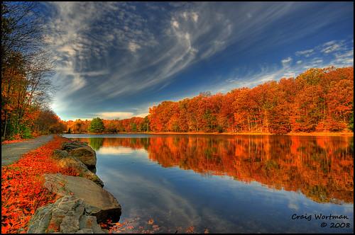 blue trees sky lake fall water colors wide poconos hdr vosplusbellesphotos reflectyourworld craigwortman
