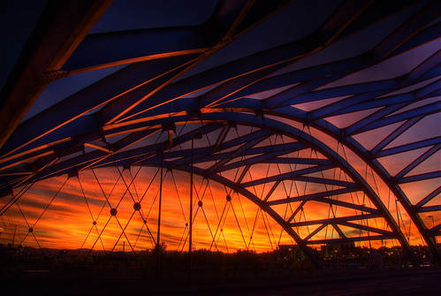 bridge sunset sky sunlight color clouds colorado colorful arch steel arches denver viaduct explore brenda span hdr bridging speer confluencepark southplatteriver photomatix auraria bridgepixing bridgepix 200810