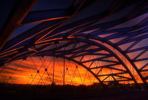 bridge sunset sky sunlight color clouds colorado colorful arch steel arches denver viaduct explore brenda span hdr bridging speer confluencepark southplatteriver photomatix auraria bridgepixing bridgepix 200810