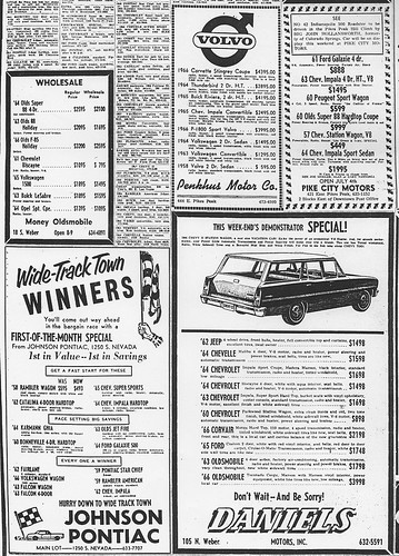 colorado springs used car ads july 1966 a photo on flickriver. Black Bedroom Furniture Sets. Home Design Ideas