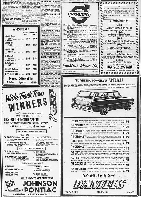 Colorado Springs Used Car Ads July 1966 A Photo On