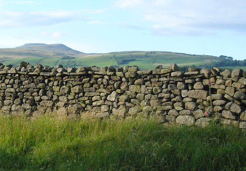 Yorkshire drystone wall with Ingleborough in the background