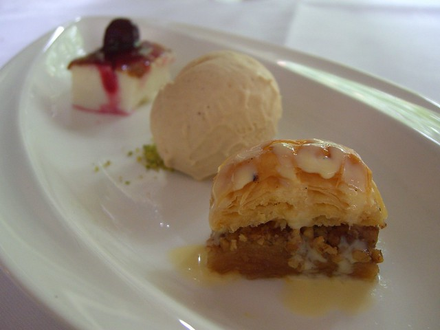 Baklava, Pomegranite Ice-Cream, Mastic-flavoured Custard - degustation - Ottoman Cuisine