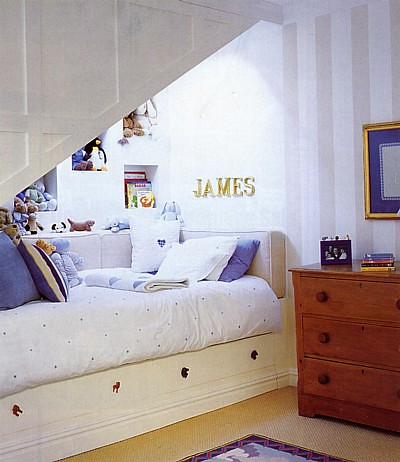 Bed under eaves flickr photo sharing for Bedroom under stairs