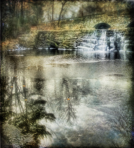 bridge winter reflection texture water stone photoshop river waterfall massachusetts digitalart newengland handheld nostalgic splash processed hdr 3exp westtownsend squannacookriver