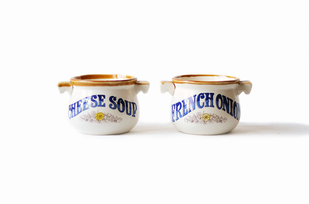 Two Vintage Blue and Brown Soup Bowls
