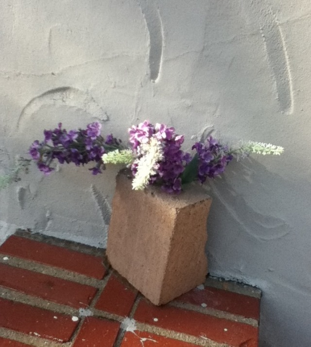 makeshift vase outside UC Berkeley campus