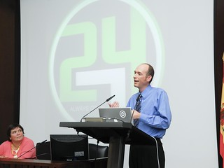 me giving a presentation in Spain. Fun time!