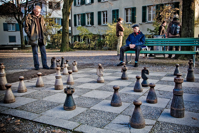 giant chess board in lindenhof  zurich