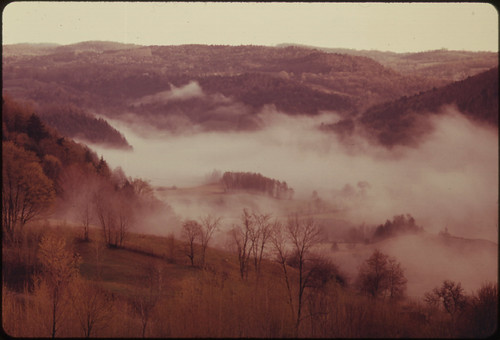 Early Morning Mist From a River Carpets the Length of the East Randolph, Vermont, Valley, 05/1974