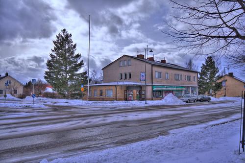street winter sky snow architecture clouds buildings finland landscape geotagged wideangle depression hdr smalltown kop mäntsälä tonemapped tonemap kansallisosakepankki