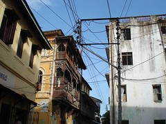 Telegraph cables, Mombasa Old Town