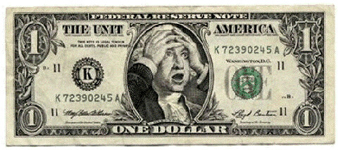 Dollar bill with George Washington with hands on his head