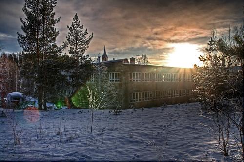 winter sunset sky sun snow clouds finland landscape geotagged factory hdr mäntsälä shoefactory tonemapped tonemap 3exp handheldhdr