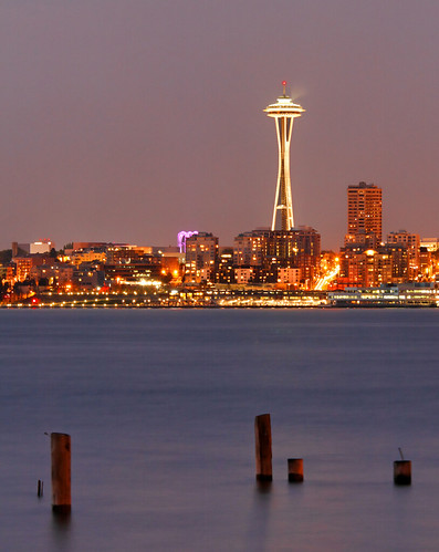 seattle building beach night washington long exposure space structure needle alki
