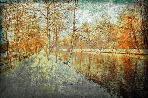 Winter river in afternoon light with texture