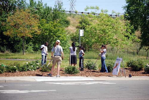 Volunteers work at an intersection