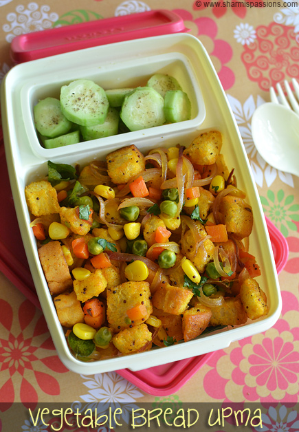 Vegetable Bread Upma & Cucumber Salad