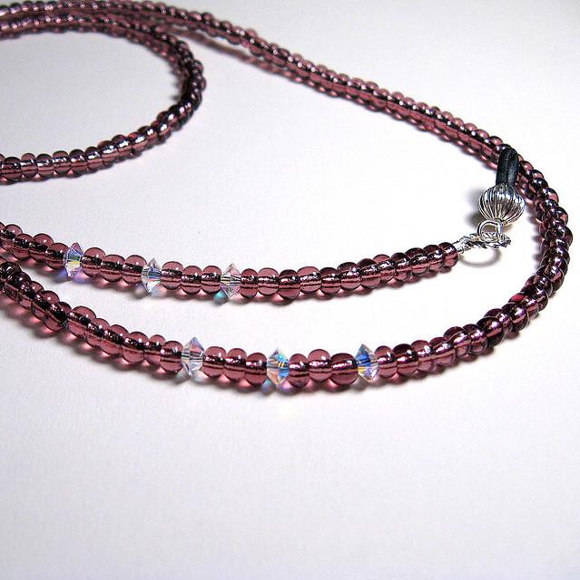 swarovski and wine beaded eyeglass chain flickr