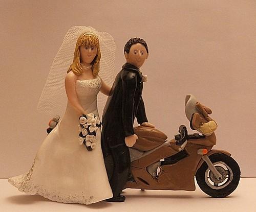 Wedding Cake Toppers - Bride and Groom on Bike