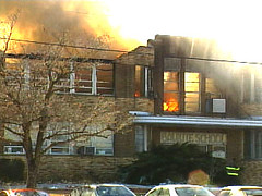This was my high school, which was destroyed by fire on January 5, 2001.   (I am not the photographer, and I do not know who was.  This was sent to me.)