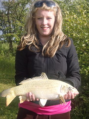 Dani with a 5lb Ghost Carp from Island Pool, caught on ledgered double sweetcorn - 22nd June 08.