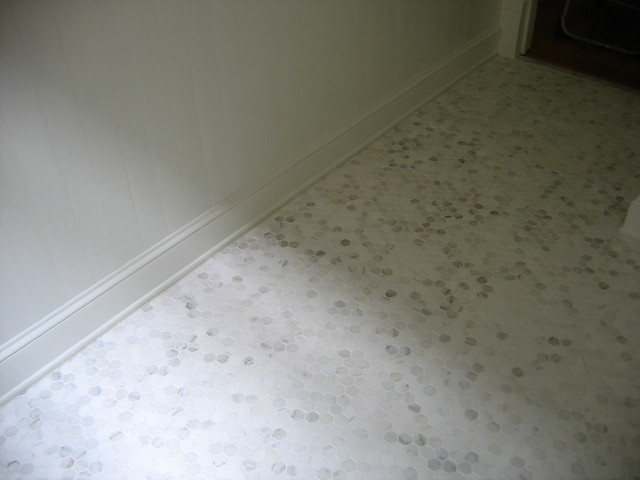 Bathroom marble hexagon tiles flickr photo sharing Marble hex tile bathroom floor