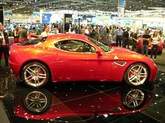 family car(0.0), ferrari california(0.0), automobile(1.0), vehicle(1.0), automotive design(1.0), alfa romeo 8c(1.0), auto show(1.0), alfa romeo 8c competizione(1.0), land vehicle(1.0), luxury vehicle(1.0), supercar(1.0), sports car(1.0),