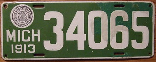 MICHIGAN 1913 LICENSE PLATE