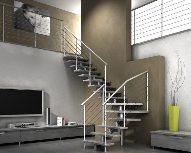 Scale - Scala a giorno modulare in legno e metallo per interni mod. voltri cs - www.nilur.it ...