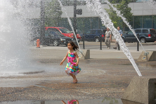 Salmon Street Springs Fountain, cycling from misters to bollards, such a good time!