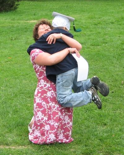 Hugging Teacher Kim