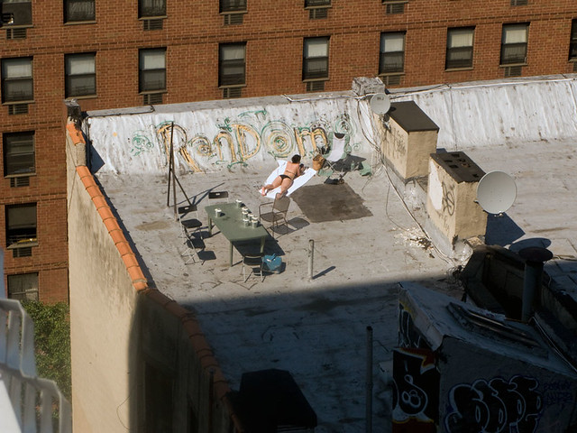 Woman Sunbathing On New York City Roof Top Flickr