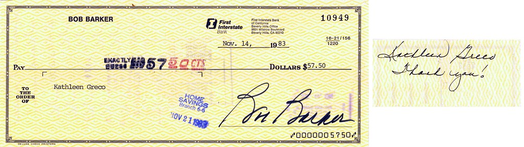 "Bob Barker check to current (2008) ""Price Is Right"" producer Kathleen Greco, November 14, 1983"