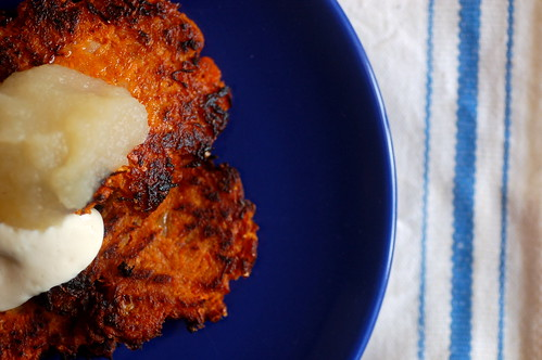 sweet potato latkes with a vegan sour cream