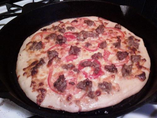 Homemade pizza bianca