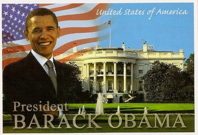 President obama in front of the white house flickr for Fenetre president