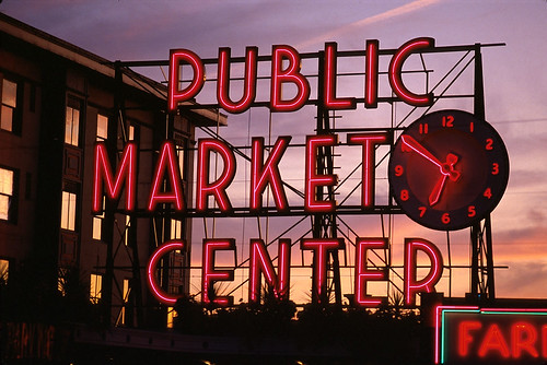 Market sign at sunset, 2000