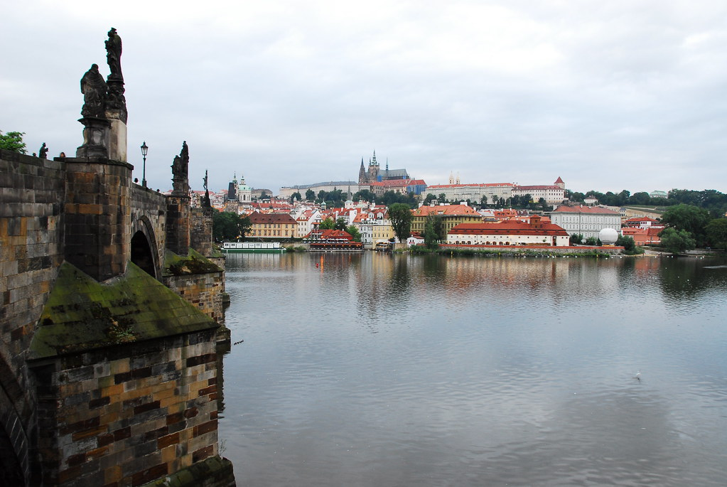 charles bridge and view of prague castle