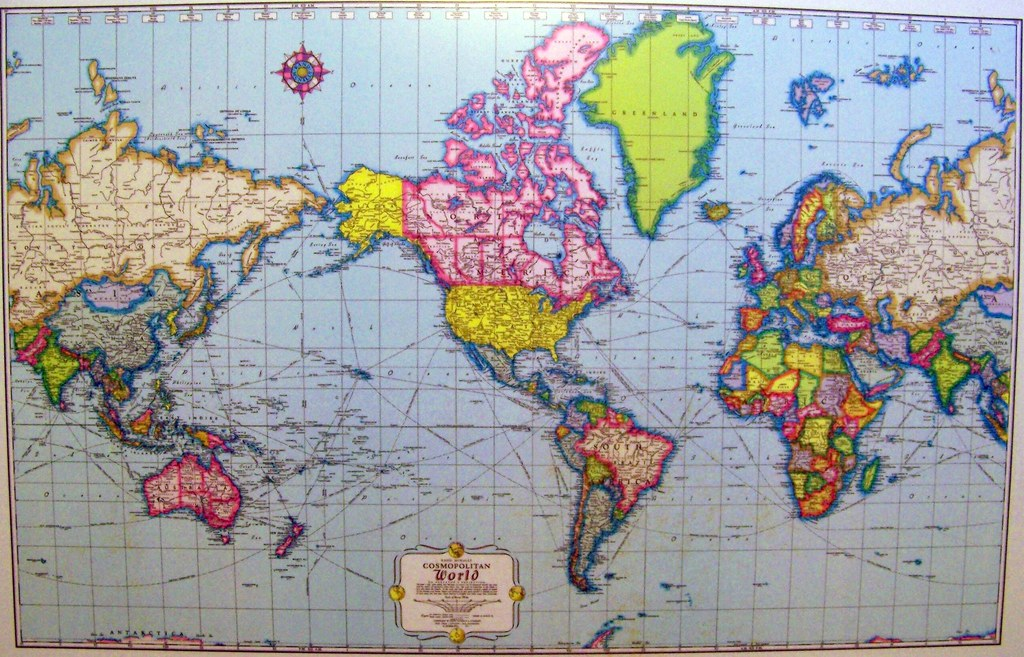 Late 1950s Mercator projection world map, on a desktop sur…   Flickr