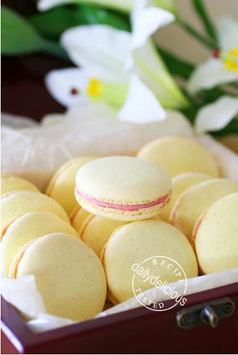 Vanilla Bean Macarons with Raspberry Buttercream Filling - a photo on ...