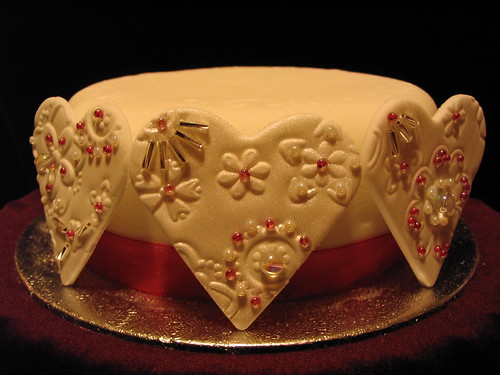 Beaded embossed fondant hearts
