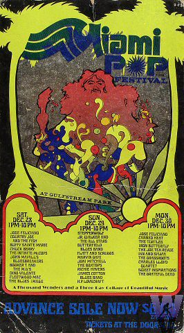 concert poster: Miami Pop Festival with the Grateful Dead, Gulfstream Park Race Track, Hallandale, Florida, December 28, 29, 30, 1968 [borrowed from www.wolfgangsvault.com]