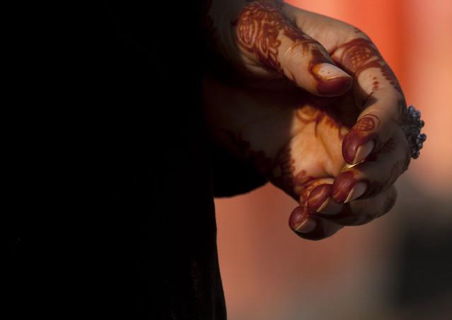 Henna on a woman hand, Oman