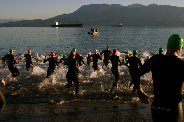 Half-triathalon: into the cold water