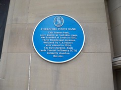 Photo of Leeds General Infirmary, Yorkshire Penny Bank, and George Bertram Bulmer blue plaque
