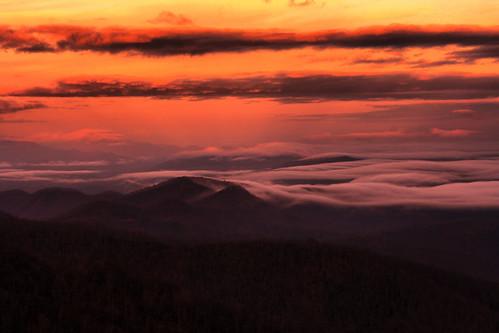 park blue sunset mountain fog clouds forest nc north ridge parkway carolina smoky smokies pisgah candler