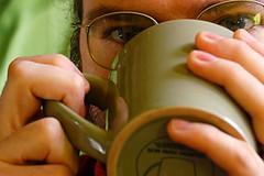 Wulf, drinking from a mug