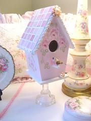 Shabby Pink Mosaic Birdhouse